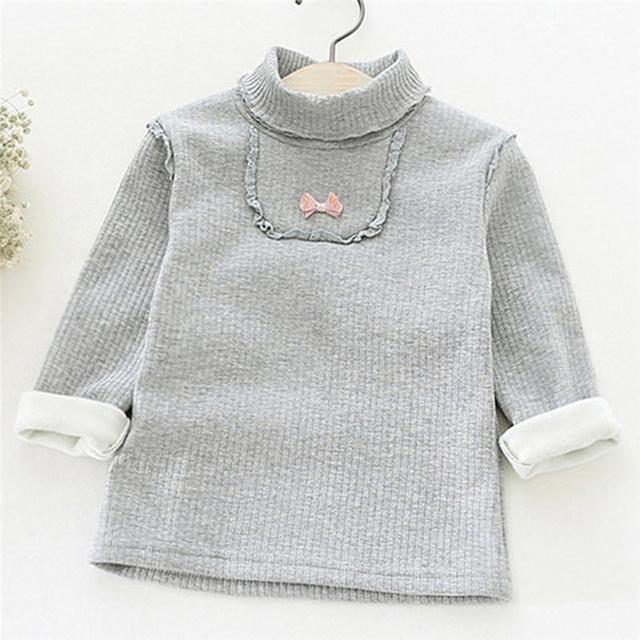 Dulces de Colores de los Bebés Del Bowknot de Manga Larga de Cuello Alto Suéter Tops Niño Pequeño Niños Ropa Pullover Camisetas Casual Tee