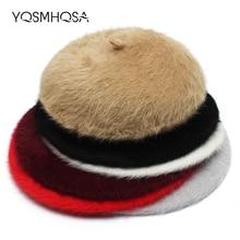 Invierno conejo boina sombreros mujeres boina roja pintor francés sombrero  tapa chica boinas damas otoño Baret sombrero mujer so. 3a865aecf3b