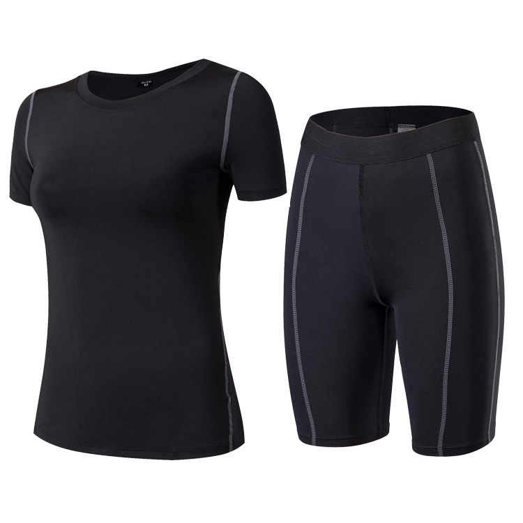 Women's Tight PRO Training Clothes 2 Pieces Women Fitness Yoga Set T-Shirt Bra Fast Drying Trousers Shorts Sports Fitness Suits 2017 women yoga sets 3 pieces t shirt bra pants fitness workout clothing women gym sports tops running slim leggings sport suit