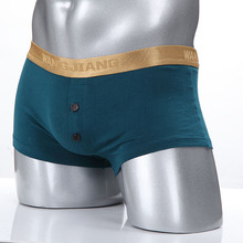 Boxers Underwear Mens Boxer Underwears Golden Waistline Button Crotch Male Sexy Underpant Panties Shorters Cotton
