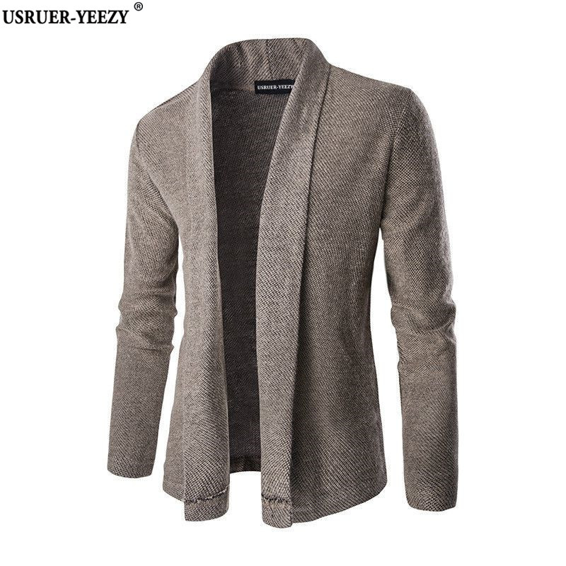 USRUER-YEEZY New Trend Shawl Collar Men Cardigan Sweater Pull Homme Men's Basic Designed Slim Fit Gray Knitted Cardigan Sweaters