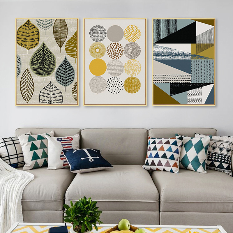 Nordic Posters Paintings Pictures Gallery Geometric Wall-Art Scandinavian Canvas Abstract title=