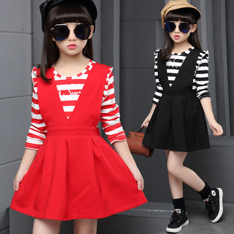 New Casual Cotton Girl Dress Baby Girls Clothes Striped T-shirt + skirt Children's Dresses Vestido Infantil Kids Dress Clothing цена 2017