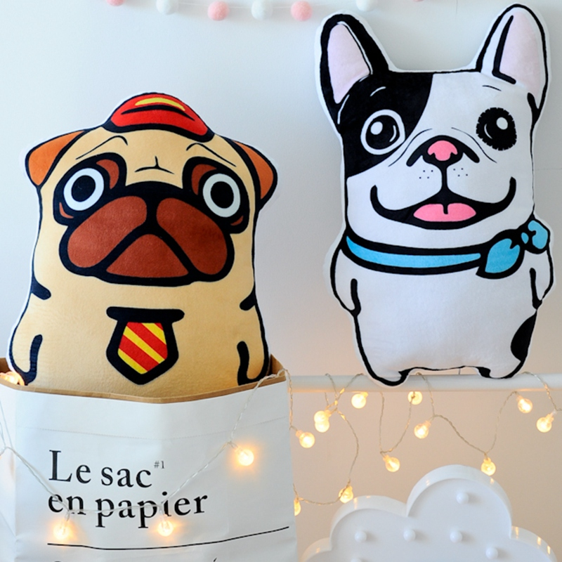 GGS French Bulldog Plush Toys Soft Simulation Animal Shapi Dog Stuffed Toys pillow sofa throw pillow home decoration Xmas gift