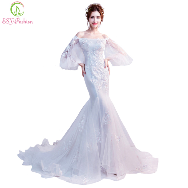 SSYFashion 2018 New White Lace Mermaid Wedding Dress Boat Neck Long Puff Sleeves Appliques Sexy Fishtail