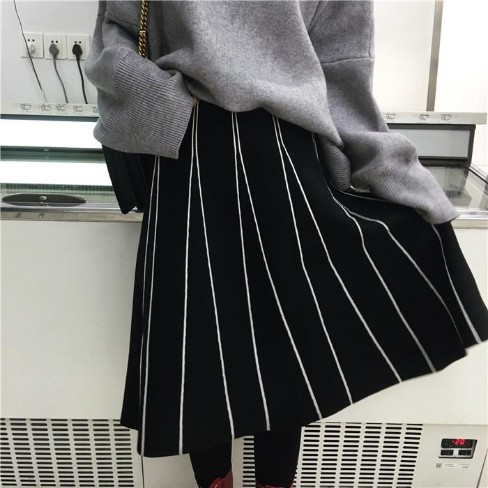 HTB1MMNZOVXXXXXZXFXXq6xXFXXXx - FREE SHIPPING Womens Skirt Vintage  Line Striped Slim High Waist Knitted Long Black Grey JKP248