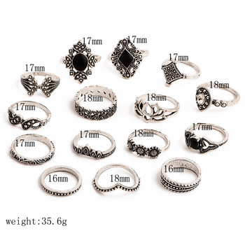 15 Pcs/set Bohemian Retro Crystal Flower Leaves Hollow Lotus Gem Silver Ring Set Women Wedding Anniversary Gift 1