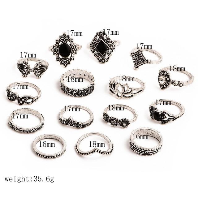 15 Pcs/set Bohemian Retro Crystal Flower Leaves Hollow Lotus Gem Silver Ring Set Women Wedding Anniversary Gift 1