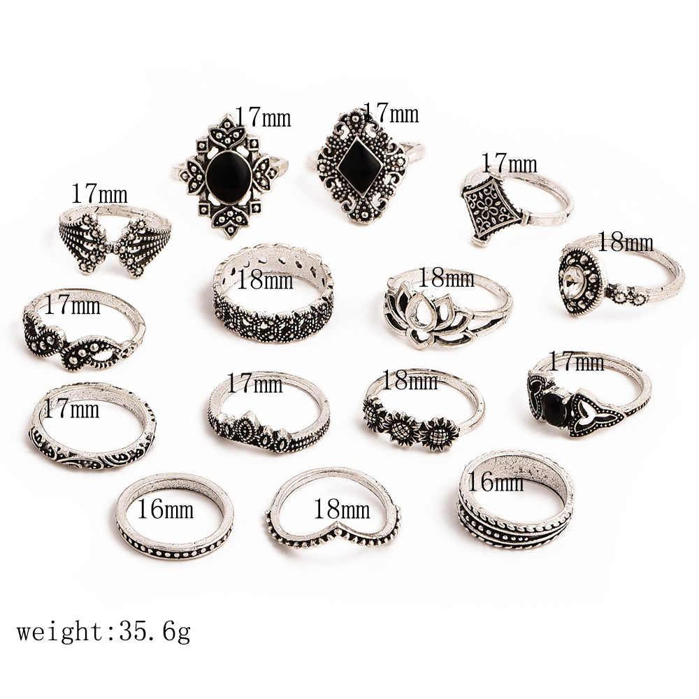 15 Buah/Set Bohemian Retro Kristal Bunga Berlubang Daun Lotus Gem Warna Perak Set Cincin Wanita Pernikahan Hadiah Ulang Tahun