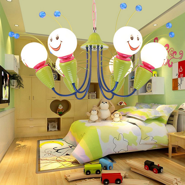2017 Lamparas Modern Children Bedroom Led Chandelier Cartoon Little Bee Girls And Boys Study Glass Light Fixture Free Shipping 2017 lamparas modern children bedroom led chandelier cartoon little bee girls and boys study glass light fixture free shipping