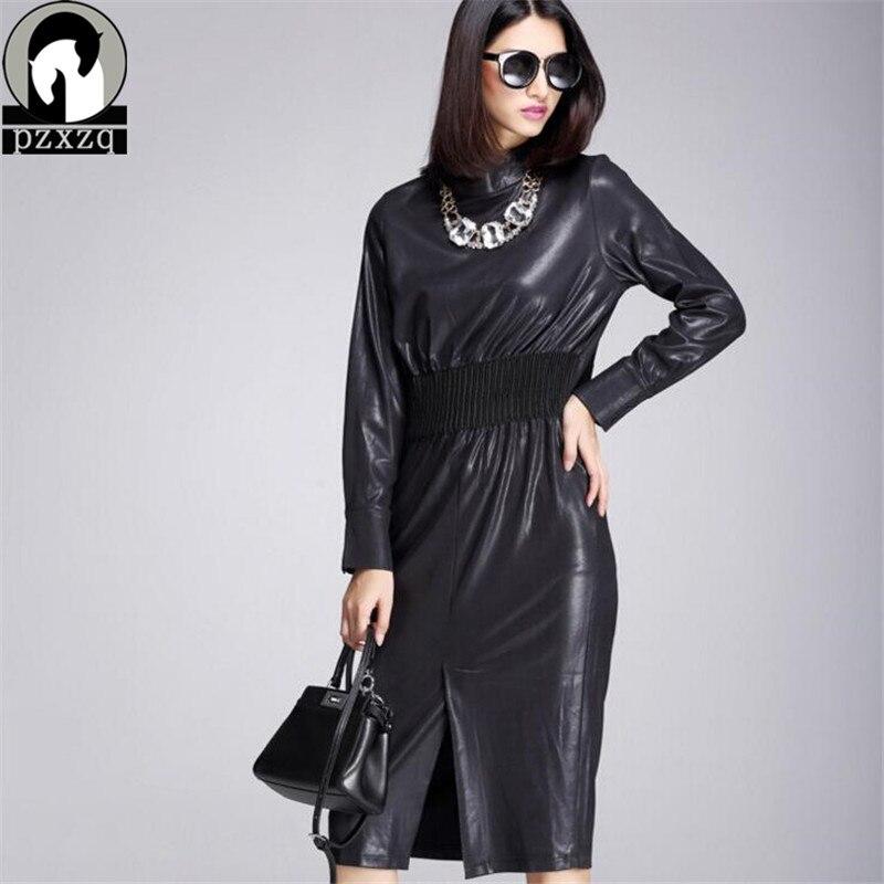 Hq Black Fall Winter Fashion Women Classic Dress Ladies Pu Dress Leather Long Sleeve Sexy Party