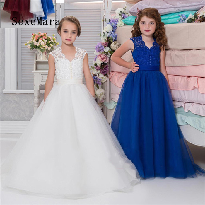 2019 New Lace Flower Girl Dress for Wedding V Neck First Communion Dress Kids Birthday Birthday Gown Princess Dresses new high quality fashion excellent girl party dress with big lace bow color purple princess dresses for wedding and birthday