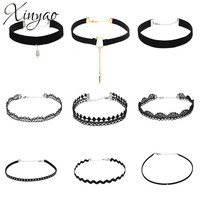 XINYAO 2017 Multilayer Black Velvet Flower Lace Neck Chokers For Women Gothic Big Circle Imitation Pearl Chocker Necklace Set