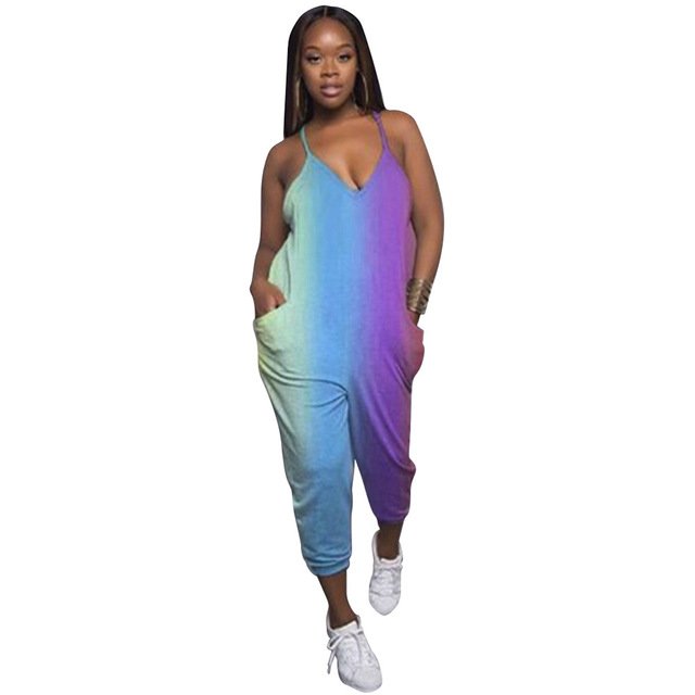 062fd94ab4c Fashion Rainbow Print Sexy Spaghetti Strap Rompers Women V-Neck Tie Dye Sleeveless  Overalls Backless Casual Jumpsuits