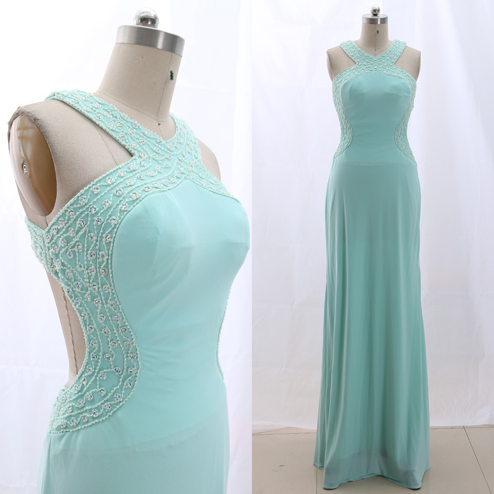 MACloth Sky Blue 0 Scoop Neck Floor-Length Long Crystal Jersey   Prom     Dresses     Dress   M 265832 Clearance