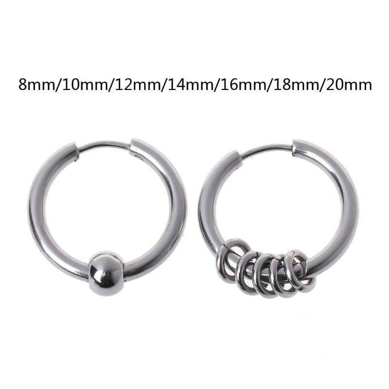 1Pair 8mm-20mm Titanium Steel Hip Hop Hoop Earring Cartilage Helix Piercing Earrings