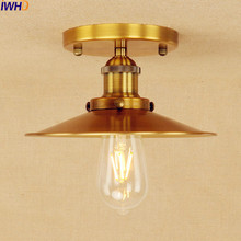 IWHD Copper Golden Edison Ceiling Light Lamp LED Plafon Home Lighting Industrial Vintage Ceiling Light Fixtures Lampara Techo iron wrount edison vintage ceiling lights fixtures home lighting edison led ceiling lamp industrial plafon lampara techo