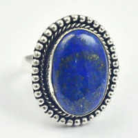 Lapis Lazuli   Ring   Silver Overlay over Copper,  USA Size  8.5 , R4249