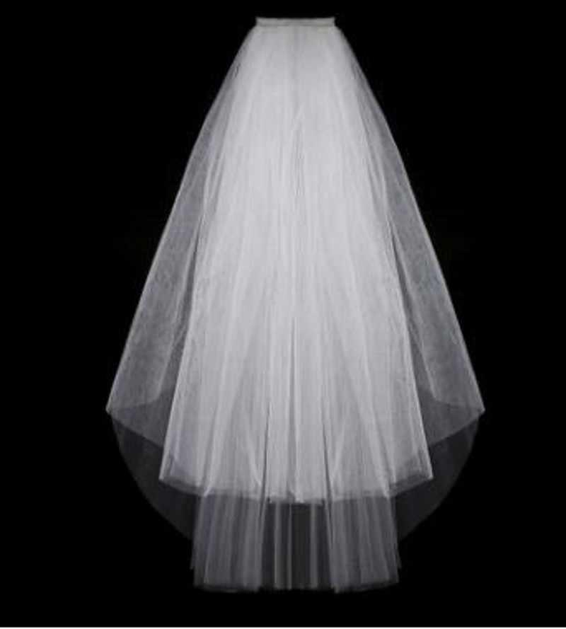 シンプルなショートチュールウェディングベール格安 2019 ホワイトアイボリーの花嫁ウェディングアクセサリー