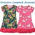2021 модное Ночное платье с единорогом для маленьких девочек, модная Пижама nino verano, ночные рубашки с принтом леса, платье для сна для девочек
