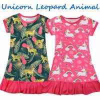 Vestido de noche de unicornio para niñas, moda 2021, Pijama de niño, verano, impresión forestal, camisones para dormir