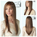 New Fashion Natural Light Brown Straight Wig for White Women Elegant Wigs Full Lace Puffy Fake Hair pieces
