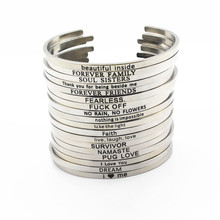 12pcs Mix Random Stainless Steel Engraved Positive Inspirational Quote Hand Stamped Cuff Bracelet Mantra Bangle women bangles(China)