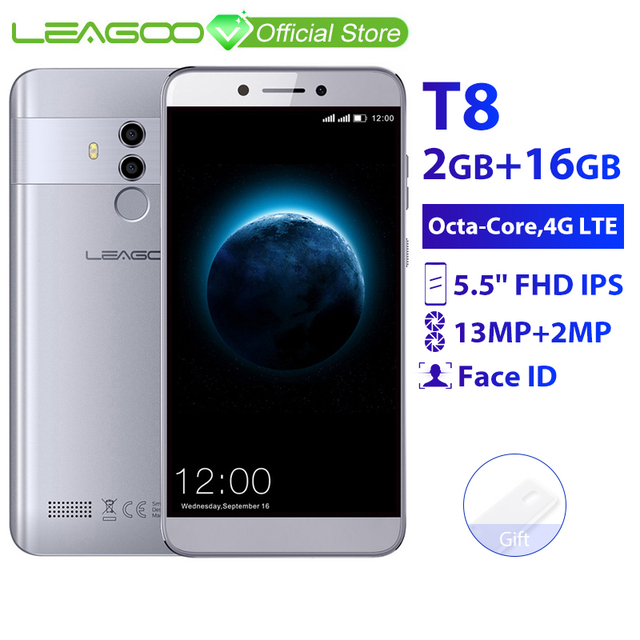 LEAGOO T8 2 Гб 16 Гб мобильный телефон Android 8,1 5,5 ''incell экран FHD MTK6750T Octa Core Face ID 13MP двойная камера 4G смартфон