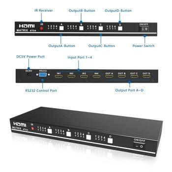 Aikexin HDMI Matrix 4x4 HDMI Splitter Switch 4 input 4 output True Matirx Support 1920x1080 60Hz Control by RS232 and IR Remote 1