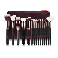 MSQ Professional Makeup Brushes Set 15pcs High Quality Makeup Tools Kit Black With PU Leather Case