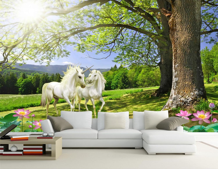 Buy fantasy unicorn trees wallpaper for Decor mural xxl leroy merlin