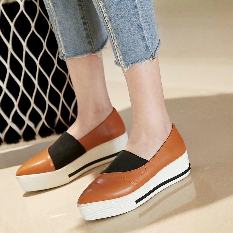 on Appartements Derbies Black Espadrilles white Véritable Cuir Chaussures forme De brown Mocassins Pointu Femmes Marque Plate Loisirs Slip Designer Bout ZwqAxFB0I