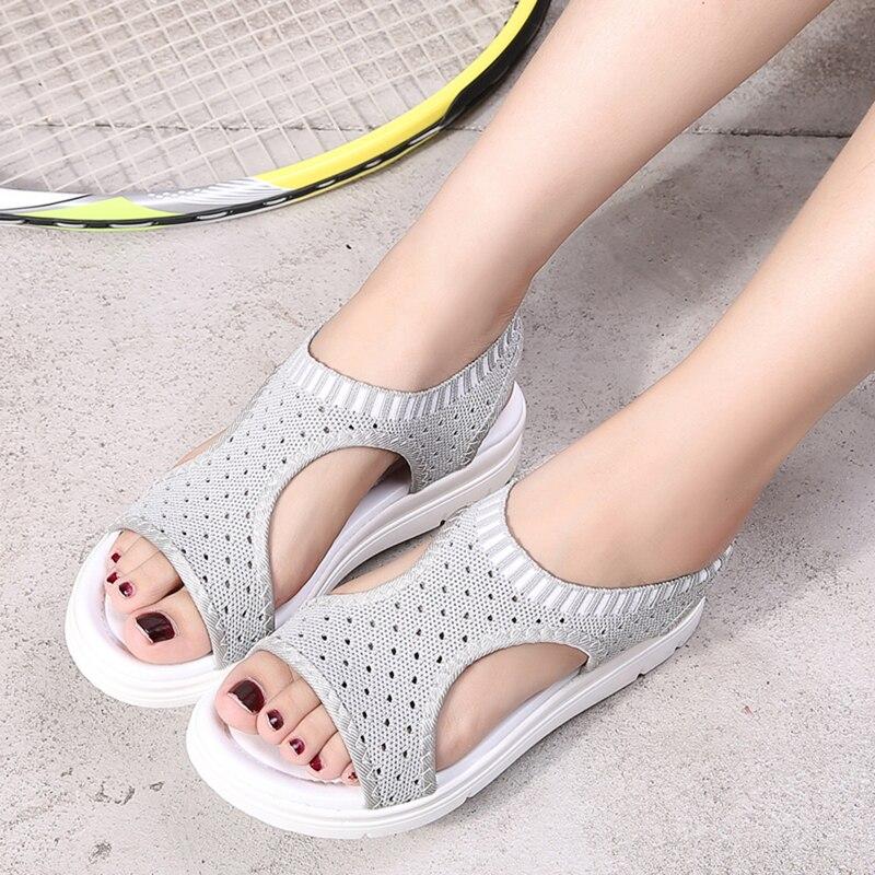 HTB1MMP2NhnaK1RjSZFBq6AW7VXaA Wild Elastic Belt Sports Sandals Summer New Women's Shoes Women's Thick Bottom Fish Mouth Mesh Sandals Drop Shipping
