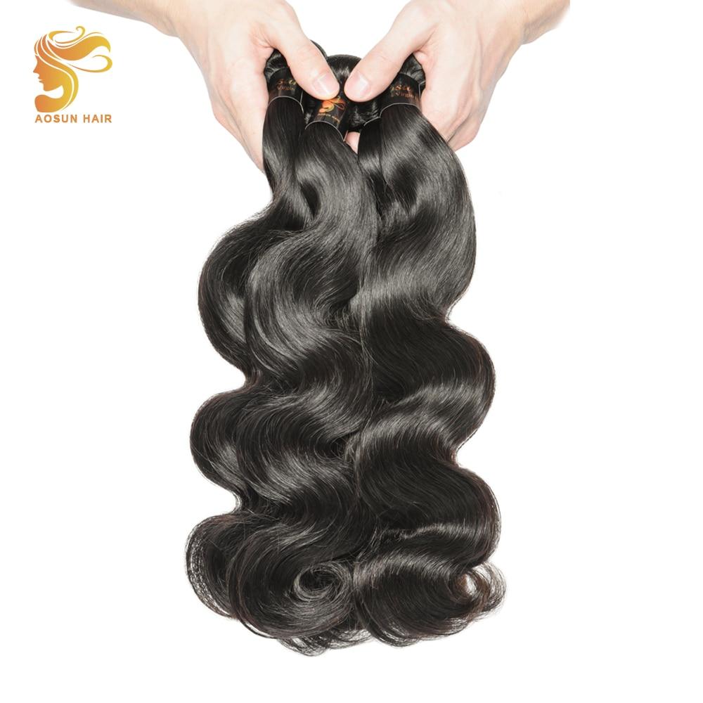 AOSUN HAIR Best Peruvian Body Wave Hair Bundles Deals 100% Natural Human Hair Weaves Remy Hair 3 Bundles Available Length 8-28