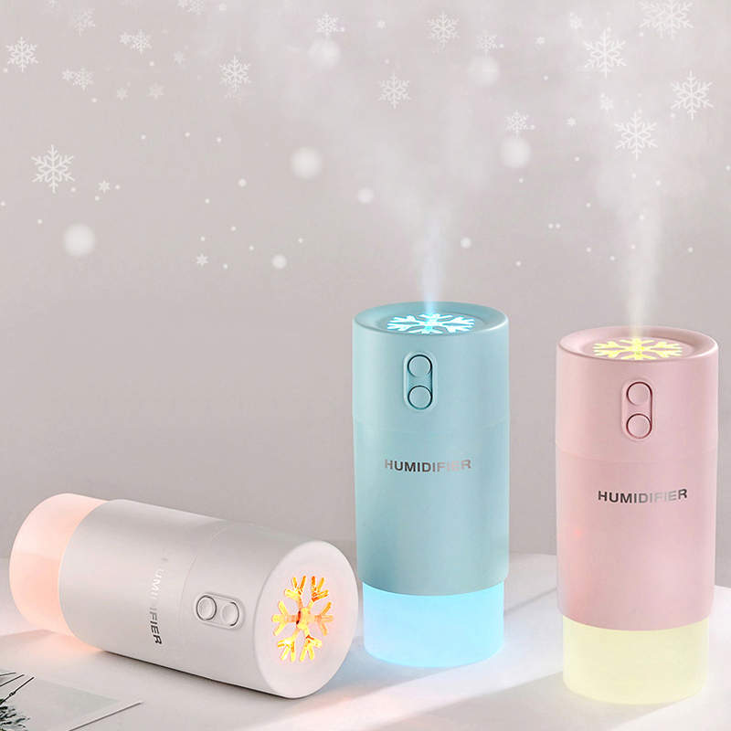 Car air freshener 3 in 1 Snowflake Humidifier Ultrasonic Diffuser USB Fan LED Light Mini Humidifiers Air Purifier Mist Maker
