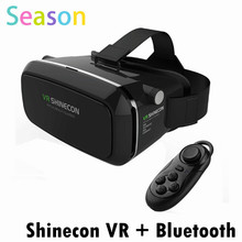 Shinecon VR Virtual Reality 3D Glasses Headset Head Mount Movie Game 3.5-6.0 Inch Phone+ Bluetooth Remote Control