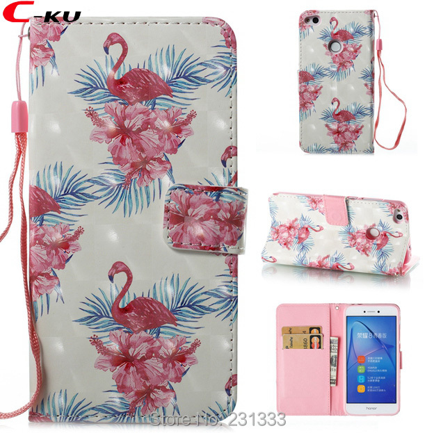 C-ku For LG Stylus 3 LS777 3D Bling Strap Flip Wallet Leather Pouch Stand ID Card Flower Flamingo <font><b>Unicorn</b></font> Butterfly Skin 50PCS