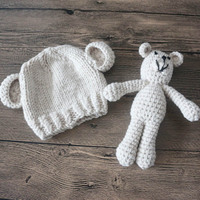 Handmade Baby Hat Teddy Bear Bonnet Photography Photo Prop Newborn Hats 0-3 months Crochet Baby Cap Atrezzo Fotografia accessory