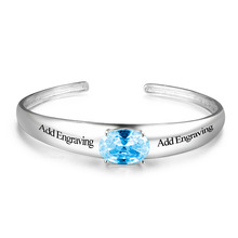 Personalized Name Birthstone Bangle