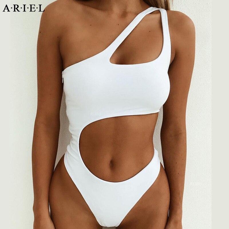 Expressive One Piece Swimsuit Women Bathing Suit Halter Swimwear Bodysuit Solid Swimwear Beach Swimming Suit For Women 2019 Monokini Yoga