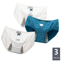 3Pcs/lot Women Period Panties Leakproof Menstrual Physiological Pants Underwear Cute Print Healthy Cotton Seamless Ladies Briefs [category]