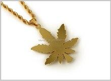 1pc Free shipping fashion Hempleaf Pendant Necklace Hip Hop necklace Chain Necklaces & Pendants for Women unisex
