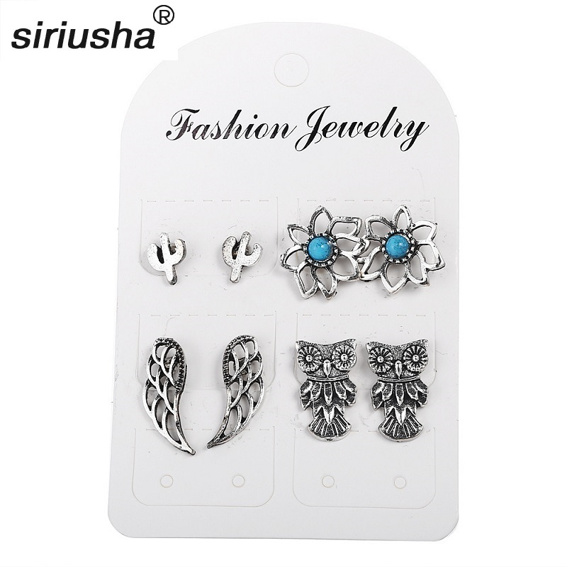 Jewelry & Accessories Cooperative 2019 Top Fashion Limited Geometric Women Set 4 Pairs Earrings Cross-border E-commerce Jewelry Inlaid Owl Wings Boho Style S264 Unequal In Performance Stud Earrings