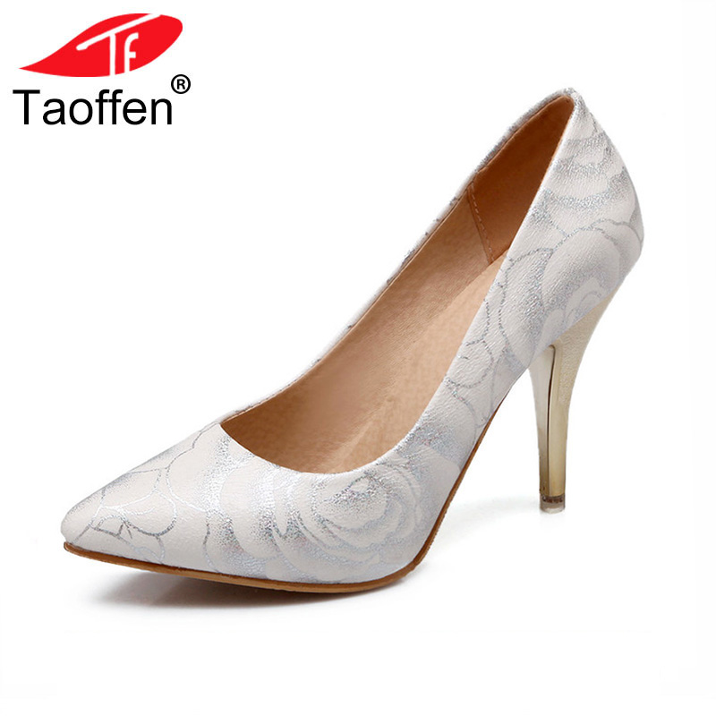 TAOFFEN women stiletto high heel shoes pointed toe spring sweet footwear lady spring heeled pumps heels shoes size 34-47 P17515 taoffen ladies leisure casual flats shoes low heels lady loafers sexy spring women brand footwear shoes size 34 42 p16166