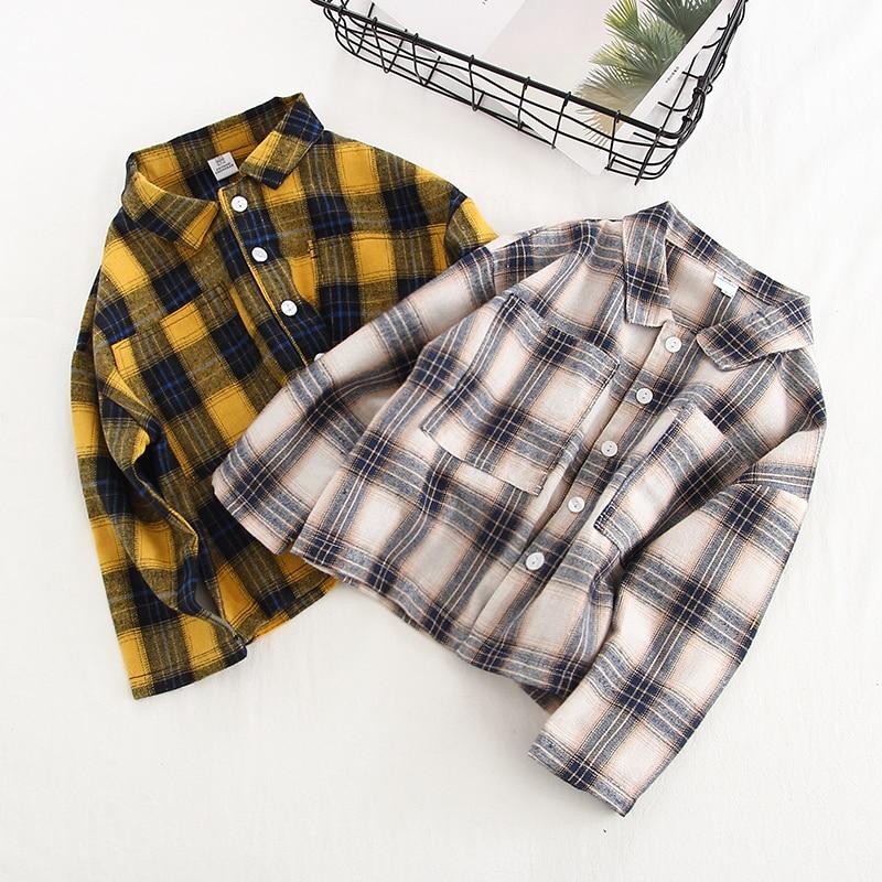 Рубашка для мальчиков и девочек нейтральные рубашки в Корейском стиле для мальчиков и девочек 1-5 лет рубашка для малышей рубашка в клетку с ...