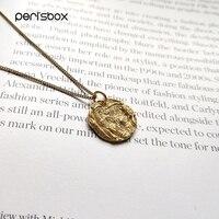 Peri'sBox винтажные рельефные монетные Чокеры с подвеской ожерелье s для женщин 925 Серебро Круглый диск многослойное ожерелье