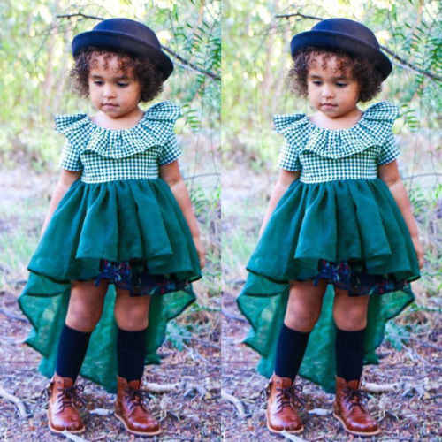 Hot Bonito 2018 Nova Folha de Lótus Colarinho Vestido de Malha Da Criança Do Bebê Meninas Princesa Partido Tutu Vestido de Roupa Dos Miúdos