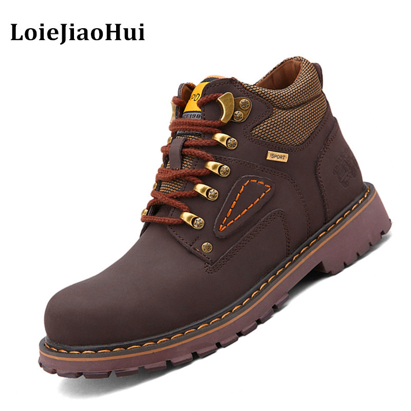 Men Casual Genuine Leather Winter Snow Boots Flats Tooling Boots Outdoor Shoes Rubber Hiking Tactical Shoes
