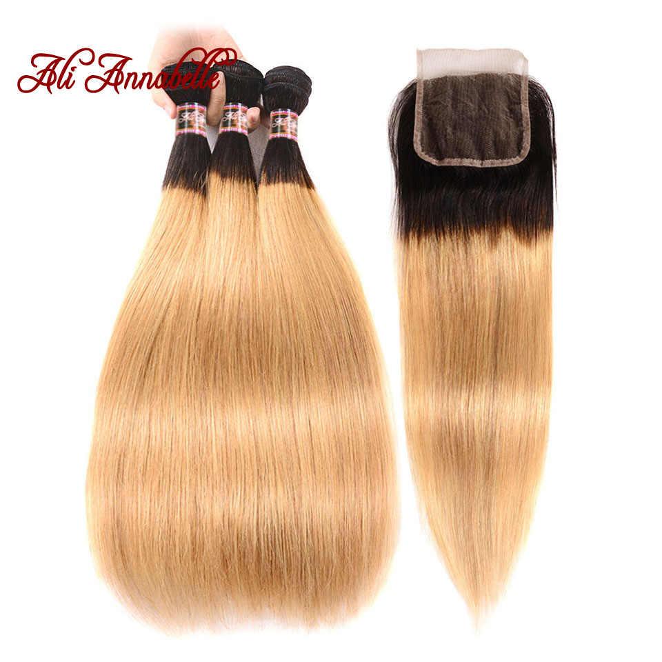 ALI ANNABELLE SAÇ Ombre 1B/27 Brezilyalı düz insan saçı Örgü Demetleri 2 Ton Sarışın Remy Saç 3 Demetleri Ile Dantel kapatma