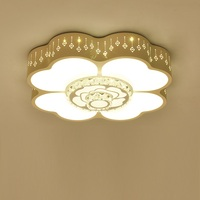 Forma de flor de Cristal Luz de Teto LEVOU Rodada de Ferro Casa Luminárias Quarto Romântico Lâmpadas De Teto Luminária de Acrílico|Luzes de teto| |  -